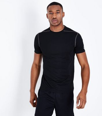 Black Mesh Short Sleeve Sports T-Shirt