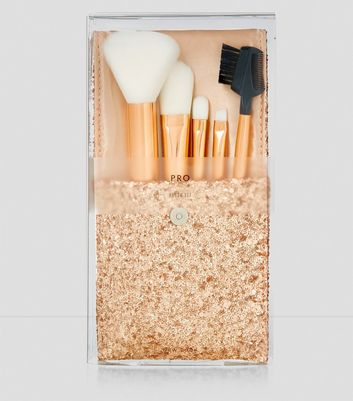 Rose Gold Glitter Pouch Brush Set