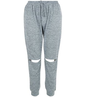 Teens Grey Fine Knit Rip Knee Joggers
