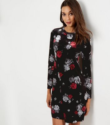 Black Velvet Floral Print Long Sleeve Dress
