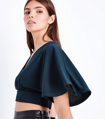 Green Cape Sleeve Wrap Front Crop Top