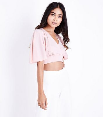 Mid Pink Cape Sleeve Wrap Front Crop Top