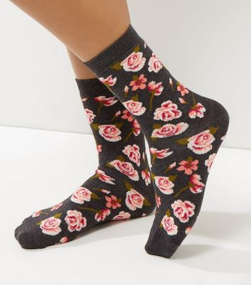 Dark Grey Rose Print Socks