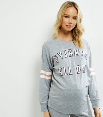 Maternity Grey Pyjamas All Day Pyjama Sweater