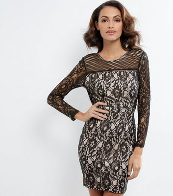 AX Paris Black Lace Long Sleeve Dress