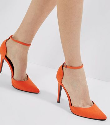 Orange Suedette Ankle Strap Heels