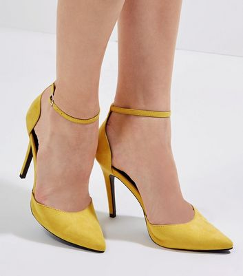 Yellow Suedette Ankle Strap Court Shoes