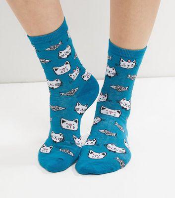 Chaussettes bleues à imprimé chats