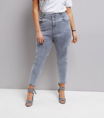 Curves Blue Acid Wash High Waist Skinny Jeans