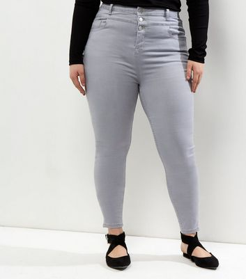 Curves Pale Grey Tripple Button High Waist Skinny Jeans