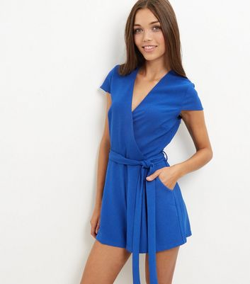 Blue Wrap Front Tie Waist Playsuit