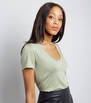 Khaki Scoop Neck Short Sleeve T-Shirt