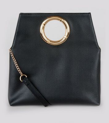 Black Leather-Look Cut Out Handle Clutch