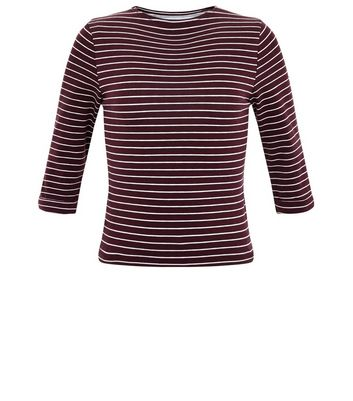Girls Red Stripe Crew Neck Top