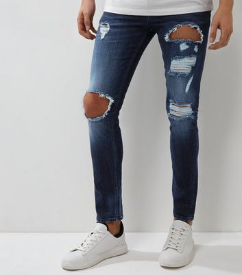 Dark Blue Distressed Skinny Jeans