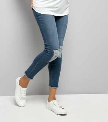 Maternity Blue Ripped Over Bump Jeans