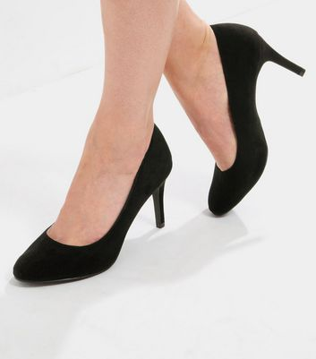 Black Comfort Suedette Court Shoes