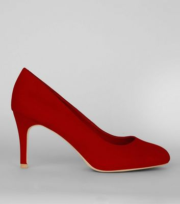 Red Comfort Suedette Court Shoes