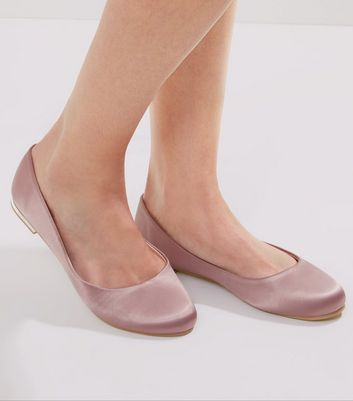 Pink Sateen Squared Toe Pumps