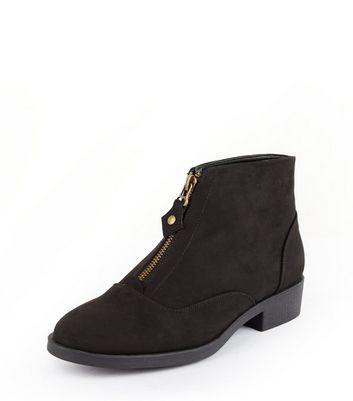 Teens Black Suedette Zip Front Ankle Boots