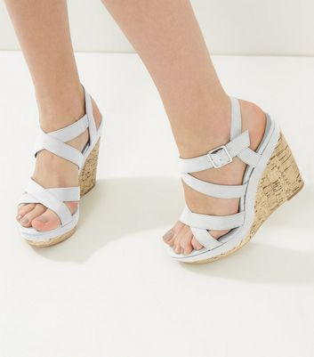 Grey Suedette Cross Strap Wedges