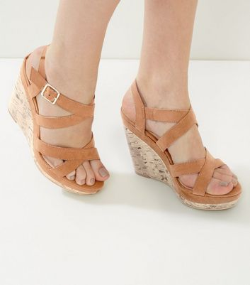 Tan Suedette Cross Strap Wedges