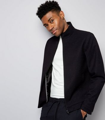 Navy Marl Tailored Zip Front Jacket