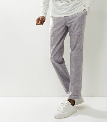 Pantalon court gris à revers