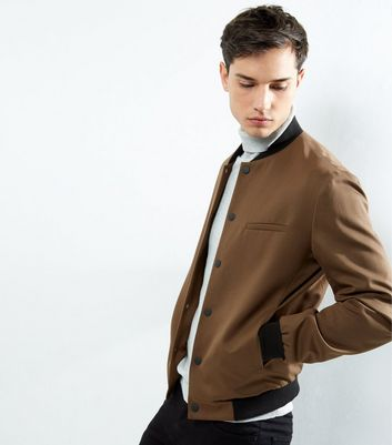 Oatmeal Popper Front Tailored Bomber Jacket