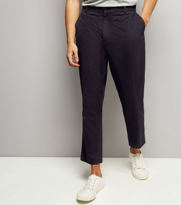 Black Cropped Cotton Slim Leg Trousers