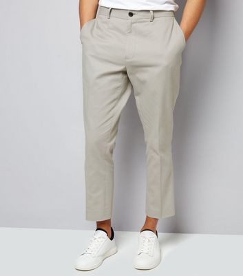Stone Cropped Cotton Slim Leg Trousers