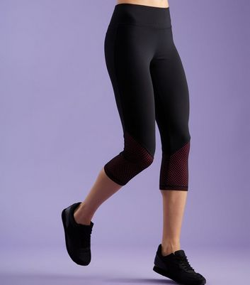 Black Mesh Cropped Sports Leggings