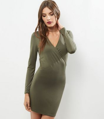 Khaki Wrap Front Bodycon Dress
