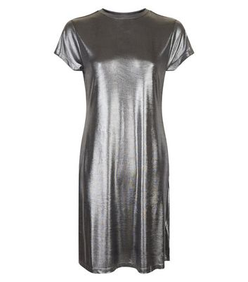 Silver Crew Neck Swing Dress