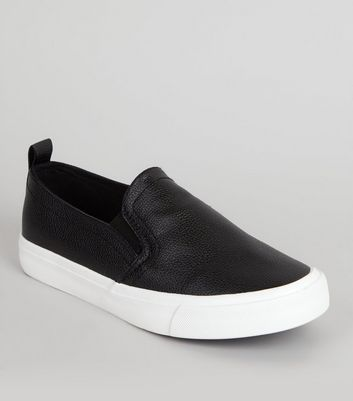 Teens Black Metallic Slip On Trainers