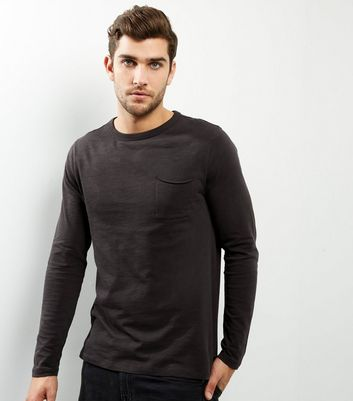 Dark Grey Pocket Front Long Sleeve T-shirt