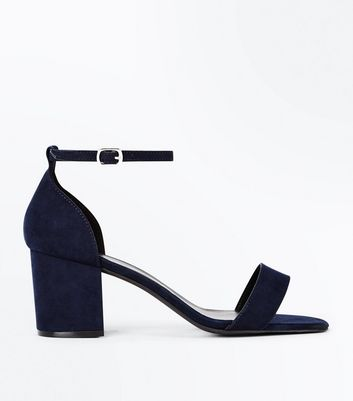 Wide Fit Navy Suedette Ankle Strap Block Heels