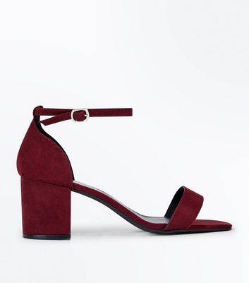 Wide Fit Burgundy Suedette Ankle Strap Block Heels