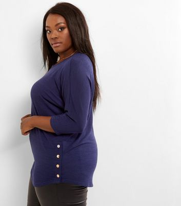 Curves Navy Fine Knit Popper Hem Top