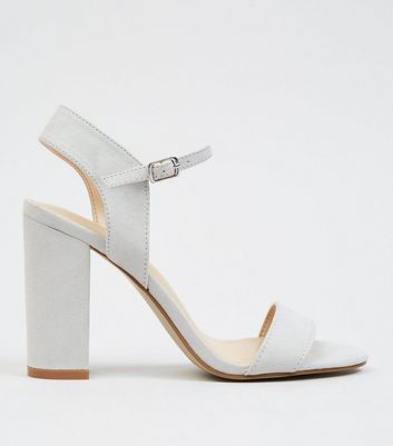 Grey Suedette Block Heel Ankle Strap Sandals