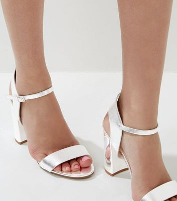 Silver Ankle Strap Heeled Sandals