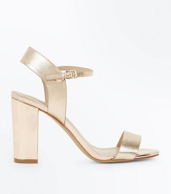 Rose Gold Ankle Strap Heeled Sandals