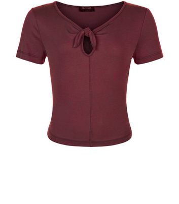 Teens Burgundy Bow Front T-shirt