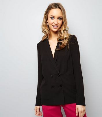 Black Crepe Button Front Blazer