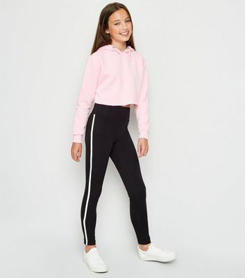 Girls Black Side Stripe Leggings