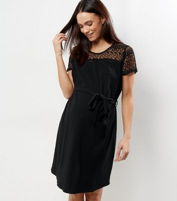 Maternity Black Lave Yoke Skater Dress