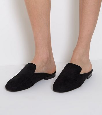 Wide Fit Black Suedette Mule Loafers
