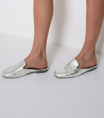 Wide Fit Silver Metallic Mule Loafers