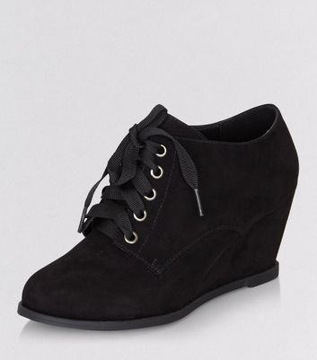 Teens Black Suedette Lace Up Wedge Ankle Boots