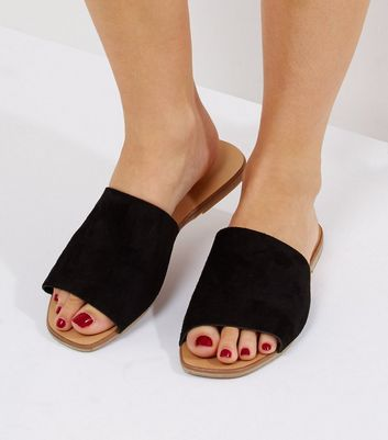 Wide Fit Black Suede Mules